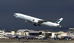 Cathay Pacific Boeing 777 B-KQI (Code20Photog) Tags: canon airplane los airport pacific angeles aircraft jet international boeing lax 777 cathay airliner eos1d 100400 bkqi