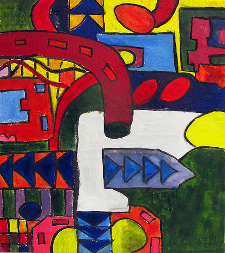 Invented Machines, Eduardo Paolozzi and Circuit Board Project, B-Block (Year 9) Acrylic paintings on canvas, 2013