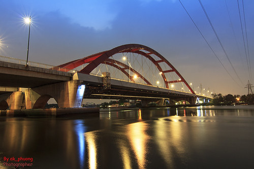 Red bridge by night