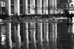 Place des Bassins (SylvainMestre) Tags: urban bw reflection lines architecture night nb reflet nuit lignes urbain villeurbanne gratteciel explored bassins