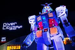 Gundam Light Show at Night in Tokyo Japan (TOTORORO.RORO) Tags: life travel winter light color tourism colors japan 35mm buildings 50mm tokyo living f14 sony lifestyle f10 tourist   alpha popular visitor viewing attractions nex mirrorless sal50f14  speedbooster  metabones nex5n  gundamfronttokyo vision:outdoor=07 vision:dark=0721