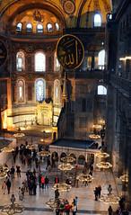 Aya Sofya from the Gallery (CarolynEaton) Tags: church museum turkey gold nikon ataturk istanbul mosque christian dome medallion handheld hagiasophia ayasofya moslem minbar sanctasophia nikkor18200mm autoiso nikond7000 vision:outdoor=0523