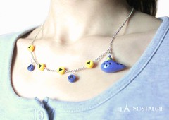 Handmade Zelda Song of Time Adjustable Necklace (www.lanostalgiejewelry.com) Tags: blue france art colors beautiful fashion yellow triangles la miniature necklace women colorful order time photos handmade song unique details jewelry bijoux jewellery fimo clay gift zelda accessories alphabet etsy lovely elegant custom ideas mode pour brilliant sophisticated accessoires timeless dainty nostalgie cadeaux ocarina personalised 2014 elles polymer triforce