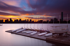 Extreme Exposure Transition from Dawn to Sunrise - Boston Skyline, Charles River, and Boat Docks (Greg DuBois Photography) Tags: longexposure morning pink blue cambridge sky orange usa cold water glass colors silhouet