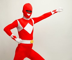 Red Storm is Coming (nefsuitscs) Tags: spandex lycra powerranger encasement zentai mightymorphin 2ndskin nefsuits