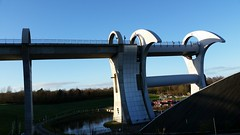 The Falkirk Wheel (amateur photography by michel) Tags: christmas uk greatbritain travel vacation urban holiday landscape scotland unitedkingdom britain scottish newyears hogmanay falkirk falkirkwheel unioncanal forthandclyde britishwaterways tamfourhill scottishcanals