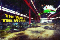 So I decided to use an abandoned building shot in a fake movie poster - classic War of the Worlds (RickDrew) Tags: abandoned photoshop movie poster flying destruction attack wells fanart wotw exploration hg saucer martian waroftheworlds