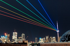 Global Rainbow (dtstuff9) Tags: white toronto ontario canada tower art skyline night cn rainbow lasers blanche nuit global 2014