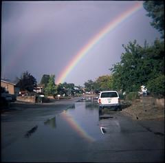 Rio Rancho, NM (aubreyfantastic) Tags: new color film rio mexico outdoors rainbow lomo lomography double nm dianaf rancho