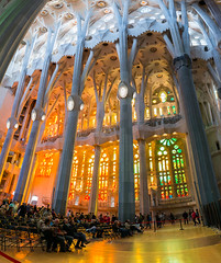 Sagrada Familia West Window (Ron Scubadiver's Wild Life) Tags: barcelona panorama glass spain nikon cathedral stained 20mm