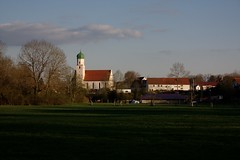 The spring village (dididumm) Tags: green church sunshine spring dorf village meadow wiese kirche bluesky grn blauerhimmel frhling sonnenschein