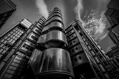 Prometheus (James Waghorn) Tags: city urban blackandwhite london architecture clouds spring nikon distorted alien landmark futuristic insideout prometheus lloydsbuilding lr6 sigma1020f456 d7100 silverefexpro2