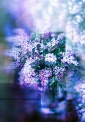 Lilac syncopation (N Medd) Tags: flowers blue summer orange plant abstract blur flower color green texture nature leaves spring purple blossom lilac bloom impressionism vase bouquet photoimpressionism