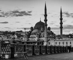 Yeni Cami - Eminonu (Aleem Yousaf) Tags: new morning bridge sky blackandwhite monochrome skyline clouds photo nikon fishermen outdoor walk istanbul mosque sultan cami minarets yeni d800 galata 70200mm camii eminonu valide