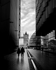Take me to the bridge (Luke Hanna) Tags: street city bridge shadow white black london tower river hall side more