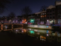 Colors in the dark (karinavera) Tags: longexposure travel netherlands amsterdam night lights canals nikond5300