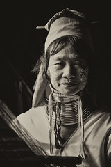 The weaver (bag_lady) Tags: portrait blackwhite burma tribal myanmar ethnic burmese indigenous shanstate tibetoburman paduang kayanlahwi yanpadoung