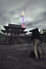 a click in the dark (eeshawn.) Tags: nightphotography japan night temple tokyo photographer tokyotower zojoji eeshawn