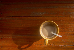 Hot coffee in the morning with the sun shining. (leykladay) Tags: coffee drink fresh get heat hot light morning shining sunrise wood