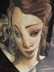 V&A (Venus bag) 11jun16 (richardbw9) Tags: london uk england va victoriaalbert museum artgallery giftshop bag botticelli city street urban londonstreetphotography southkensington southken cromwellroad distorted clothbag distortedface tempura goddess venus birthofvenus quattrocento nose eyes eyebrow lips gingerhair