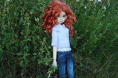 Over in the Meadow (Emily1957) Tags: gracie kayewiggs bjd doll dolls toy toys jeans bluejeans redhair twilight goldenhour light naturallight nikond40 nikon kitlens spider meadow