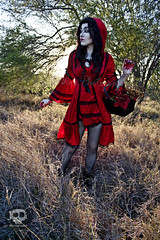 Through the woods 7686 (JoDi War) Tags: trees sunset red wild nature grass fairytale dark lost blood woods wolf dress boots lace gothic victorian velvet hood storybook rhyme grandmothershouse nurseryrhyme throughthewoods storytale