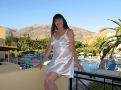 Happy holiday smile (Paula Satijn) Tags: sun white holiday hot sexy pool girl smile sunshine outside happy shiny joy silk tgirl crete transvestite satin gurl chemise nightie