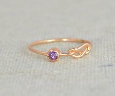 Amethyst Infinit Rin (alaridesign) Tags: amethyst infinit ring rose gold filled stackable rings mothers february birthstone purple knot by alaridesign