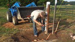 Wire Stretching (NerdAcres) Tags: fence wire post barb barbed stretching attach 2016