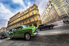 Havana old car (Catherine Gidzinska and Simon Gidzinski/grainconno) Tags: 2016 adventure car city cuba gadventures havana holidays lahabana travel cu vintage cuban green oldhavana old street traffic lada