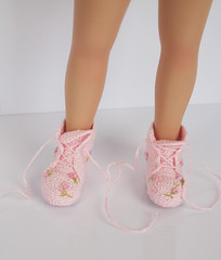 Pink Floral Lace-Up Boots for Little Darling (Maria Kłopotowska) Tags: pink roses up rose shoes doll boots little lace embroidery crochet dianna 13 embroidered slippers laceup littledarling effner