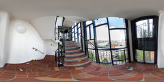 art in the stairwell (360 x 180) (diwan) Tags: city windows panorama architecture canon germany geotagged deutschland eos stair colours place stitch fenster roundabout indoor stairway fisheye treppe magdeburg stadt panoramix hundertwasser farben floortiles 360 treppenhaus 2016 fotogruppe ptgui equirectangular saxonyanhalt sachsenanhalt friedensreichhundertwasser treppenstufe bodenfliesen grnezitadelle greencitadel canoneos650d spivpano walimexprofisheye835 geo:lat=52127187 fotogruppemagdeburg geo:lon=11634842