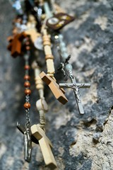 Crosses in a Cave (sydneykmking) Tags: travel love beautiful turkey necklace worship catholic cross crosses christian retreat rosary cappadocia turkei cavechurch