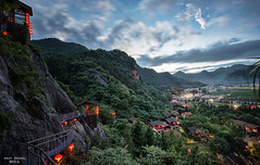 Hong Deng Long - Red Lantern Village (Tonglu, Zhejiang, China) (Andy Brandl (PhotonMix.com)) Tags: china above mountains nikon solitude village tranquility nopeople cliffs adventure leisure bluehour sly railings zhejiang movingclouds redlanterns ruralchina lushvegetation traveldestination tonglu photonmix elevatedpov redlanternvillage hongdenglong