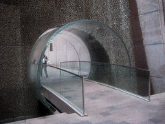 Waterfall Glass Tube Tunnel Midtown Manhattan 9955 (Brechtbug) Tags: park street new york city bridge fall water glass wall way waterfall walk manhattan tube bridges tunnel midtown half block through tunnels 7th 6th between avenues 48th 2013