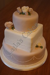 Vintage rose pearl wedding cake (lajla cash) Tags: wedding roses cakes cake vintage lace antique ivory pearls fondant lajlas
