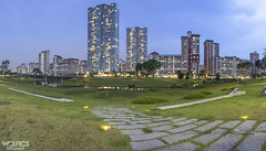 Inspired: Bishan Park (Wolfics) Tags: sky panorama green stone architecture buildings lights singapore path inspired stitching lamps bluehour uwa bishanpark 1585 60d