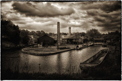 Evening at the Boatyard (Dave - R.A.T.S.) Tags: boats boat canal dudley sepiatone blackcountrylivingmuseum bclm factorychimneys topazclarity
