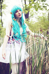 Pluie de Monarque (andreannelupien) Tags: girl field forest butterfly insect teal makeup insects skirt greeneyes curly monarch redlips curlyhair monarchs tealhair