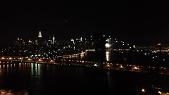 Fireworks on the East River + Manhattan Skyline from Williamsburg Brooklyn (justinpocta) Tags: nyc skyline brooklyn fireworks manhattan eastriver williamsburg