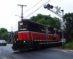 Heading through  Mill street crossing (Jamie 17) Tags: ri railroad train photography photo flickr rail rhodeisland rainy transportation railroads pw flickrphoto pr3 flickraward providenceandworcester providenceworcesterrailroad mygearandme