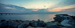 resundsbron (Sontbrug) (Marcus Antonius Braun) Tags: bridge sunset rocks sweden oresund resundsbron sontbrug