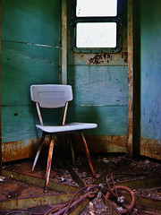Stay Awhile (Drew Z) Tags: window wisconsin chair rust interior sony cable explore a290