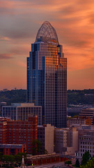 The Queen's Crown (Brian Truono Photography) Tags: city windows sunset ohio sky tiara reflection building tower glass skyline architecture clouds skyscraper glow steel cincinnati mtadams hdr highdynamicrange verticalpanorama greatamericaninsurancegroup
