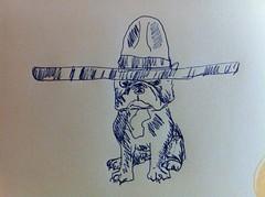 Feliz Cumpleanos! (Lainey1) Tags: dog cute art illustration sketch funny drawing oz humor sketching artsy frenchie frenchbulldog sombrero ozzy lainey1 elainedudzinski
