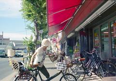 中河原 駐輪するひと Fuchu-si, Tokyo (ymtrx79g ( Activity stop)) Tags: street color film bicycle japan analog canon tokyo kodak 35mmfilm 東京 135 rf 府中市 自転車 街 写真 銀塩 nakagawara フィルム canoncanonetgiii17 中河原 stopandwait kodakprofotoxl100 fuchusi 停止待機 201308blog