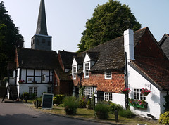 The Pub By The Church (Louise and Colin) Tags: old uk england english heritage history beautiful graveyard pub inn britain cottage eu surrey explore attractive british churchyard lovely gravestones halftimbered weald horley timberframed churchroad stbartholomewschurch explored wealden stbartschurch thesixbells yeoldesixbells tilehung louiseenglish