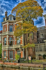 Day 298 - Lebanon Residence (William Adam) Tags: blue sky reflection tree fence canal balcony thenetherlands bluesky denhaag flagpole thehague redbrick whispyclouds williamadam doctorkuyperstraat