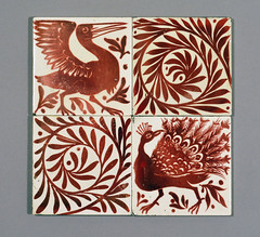 William De Morgan red lustre tiles (robmcrorie) Tags: century tile ceramic de chelsea crafts arts peacock william morgan fulham merton scroll 19th demorgan williamdemorgan
