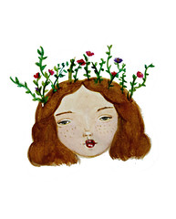 Spring is on my head (Notice my Oh Ohs) Tags: flowers green art girl illustration watercolor ginger spring pretty head drawing redhead freckles ideas sketchblog childrenart